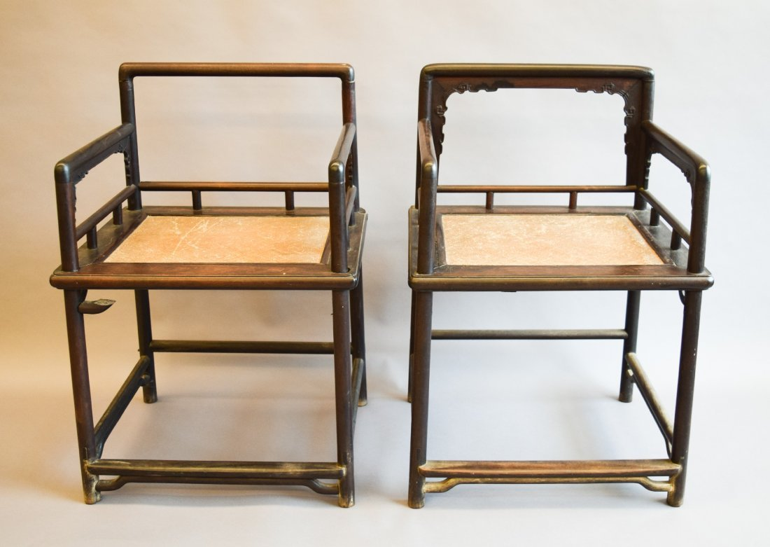 Very important and rare pair of Tzutan chairs. China.