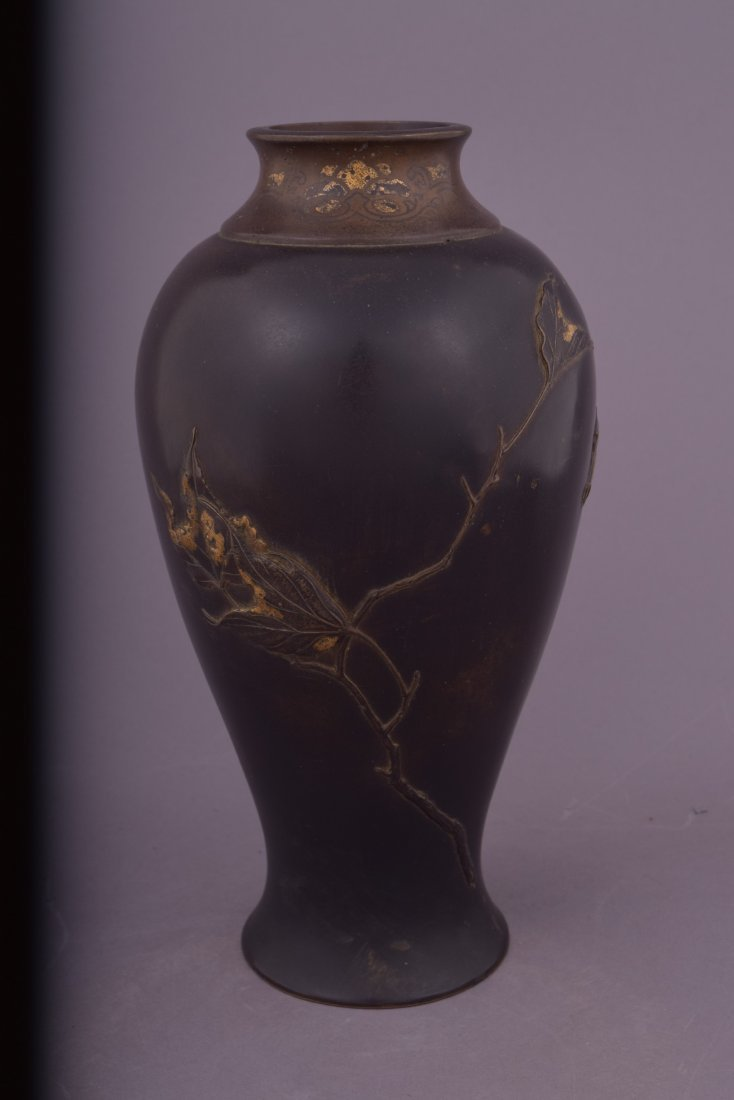 Mixed metal vase. Japan. Meiji period (1868-1912). - 3