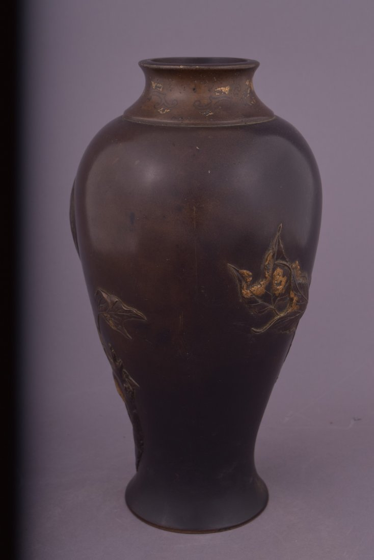 Mixed metal vase. Japan. Meiji period (1868-1912). - 4