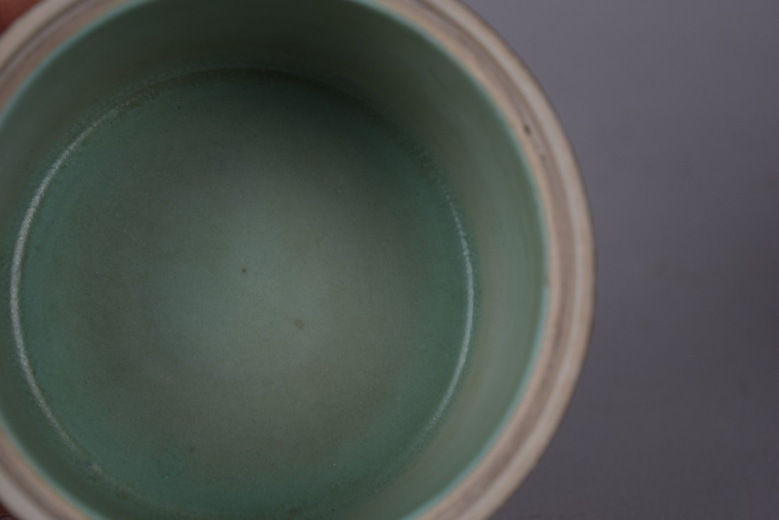 Porcelain two section brush pot. 20th century. - 10