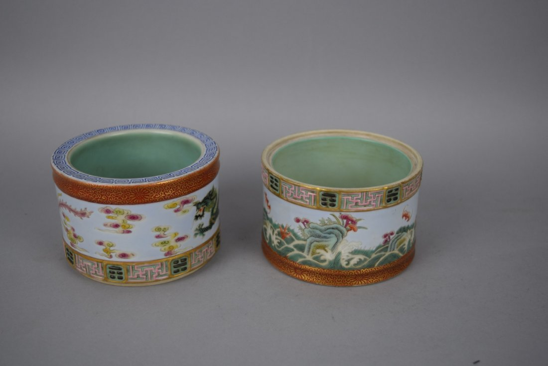 Porcelain two section brush pot. 20th century. - 5