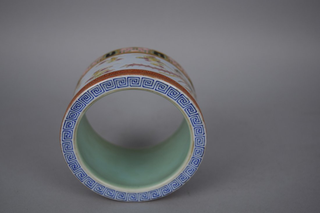 Porcelain two section brush pot. 20th century. - 6