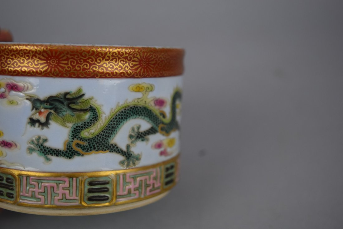 Porcelain two section brush pot. 20th century. - 7