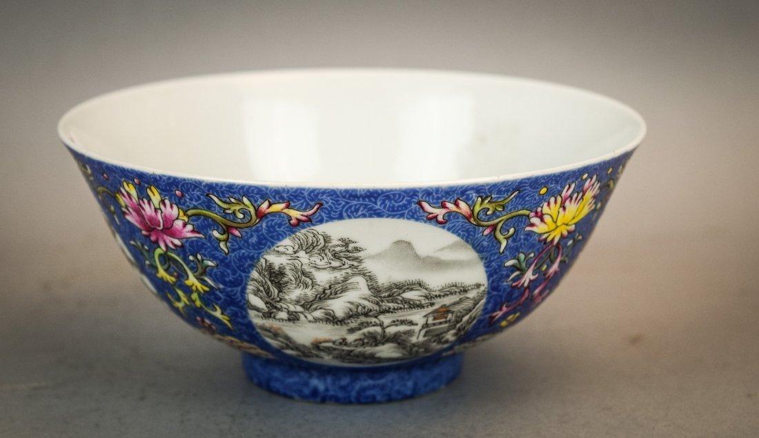 Pair of porcelain bowls. China. 20th century. Scraffeto