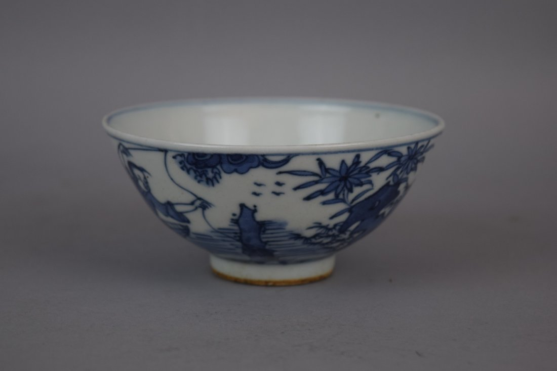 Porcelain bowl. China. Early 20th century. Underglaze - 8
