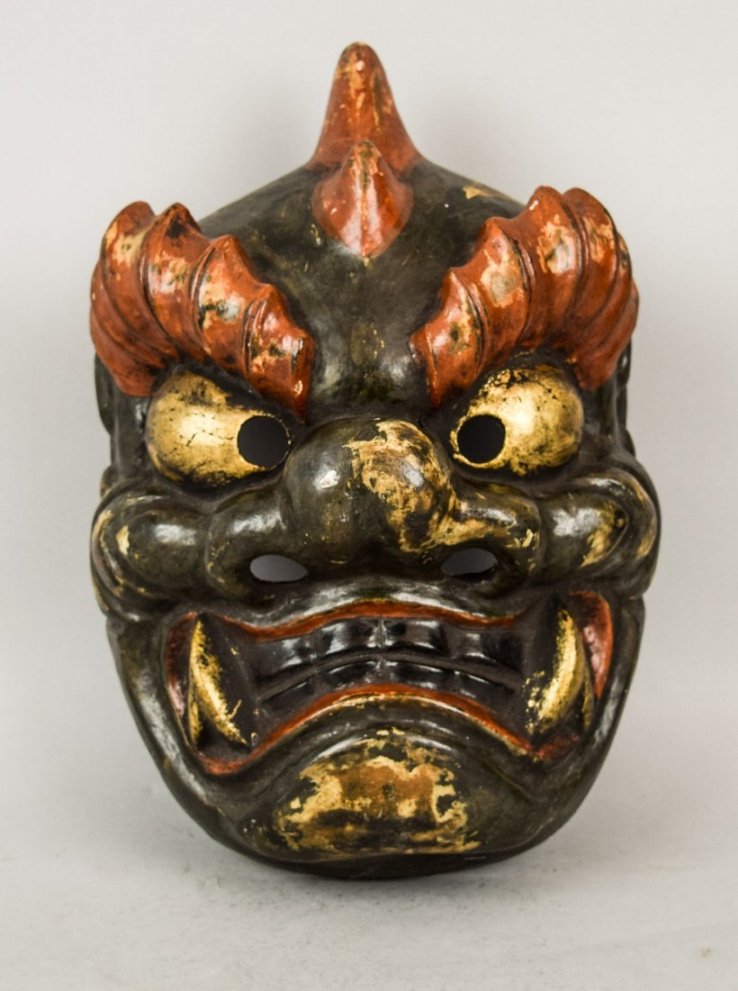 Papier Mache mask. Japanese. Meiji period (1868-1912).