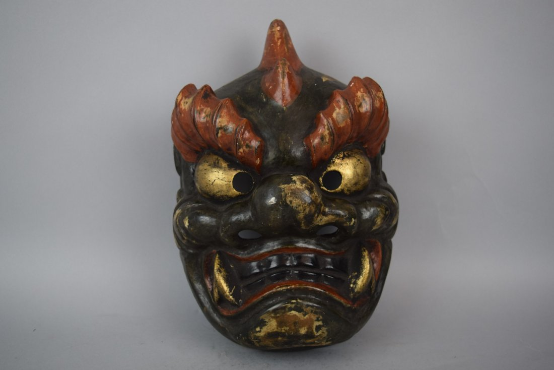 Papier Mache mask. Japanese. Meiji period (1868-1912). - 2