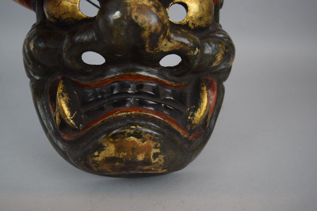 Papier Mache mask. Japanese. Meiji period (1868-1912). - 5