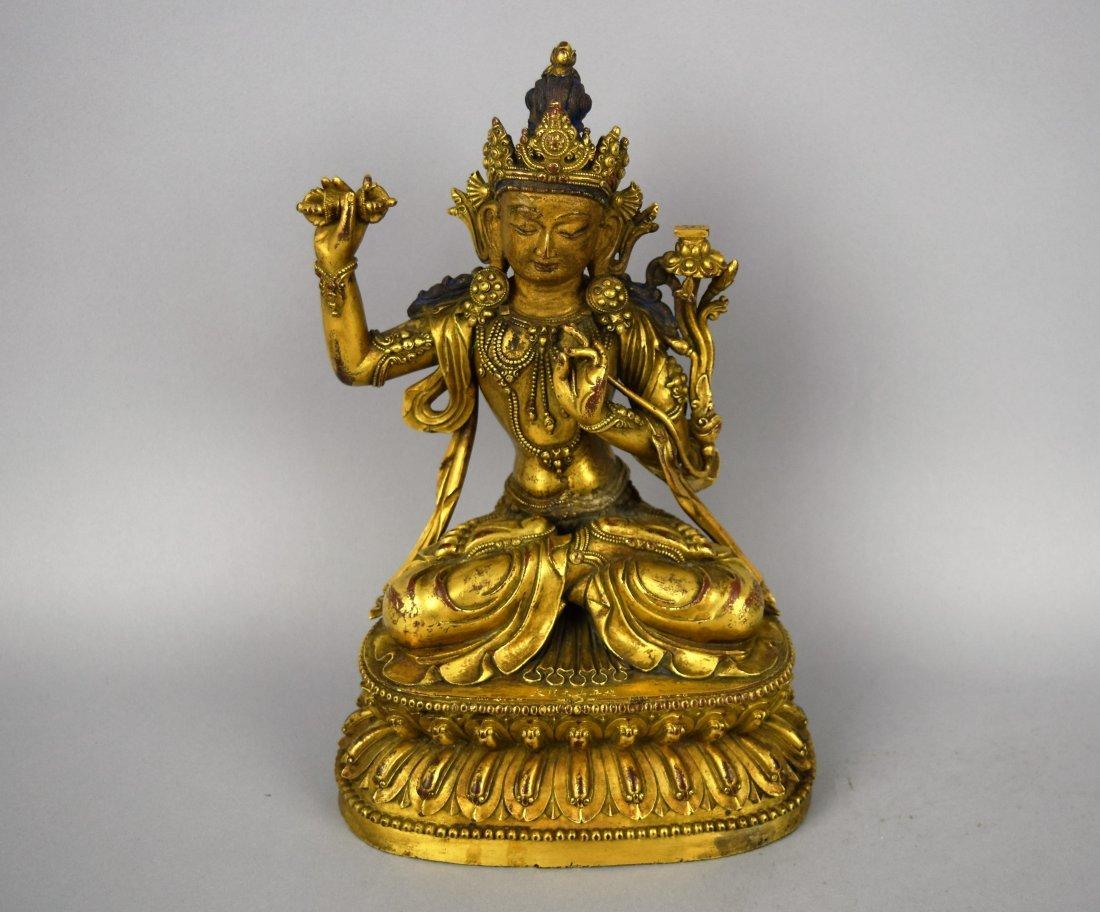 Very fine, rare gilt bronze image of Vajrattva. Yung Lo