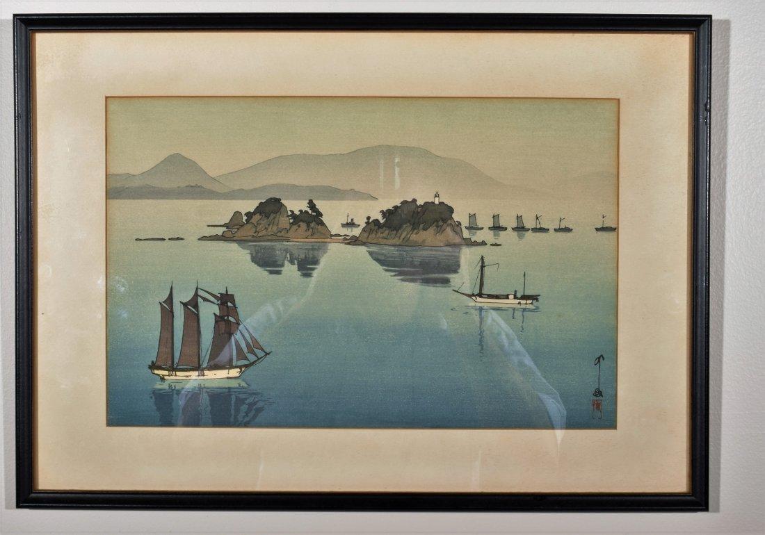 Hiroshi Yoshida. Woodblock Print. Boats in a Bay.