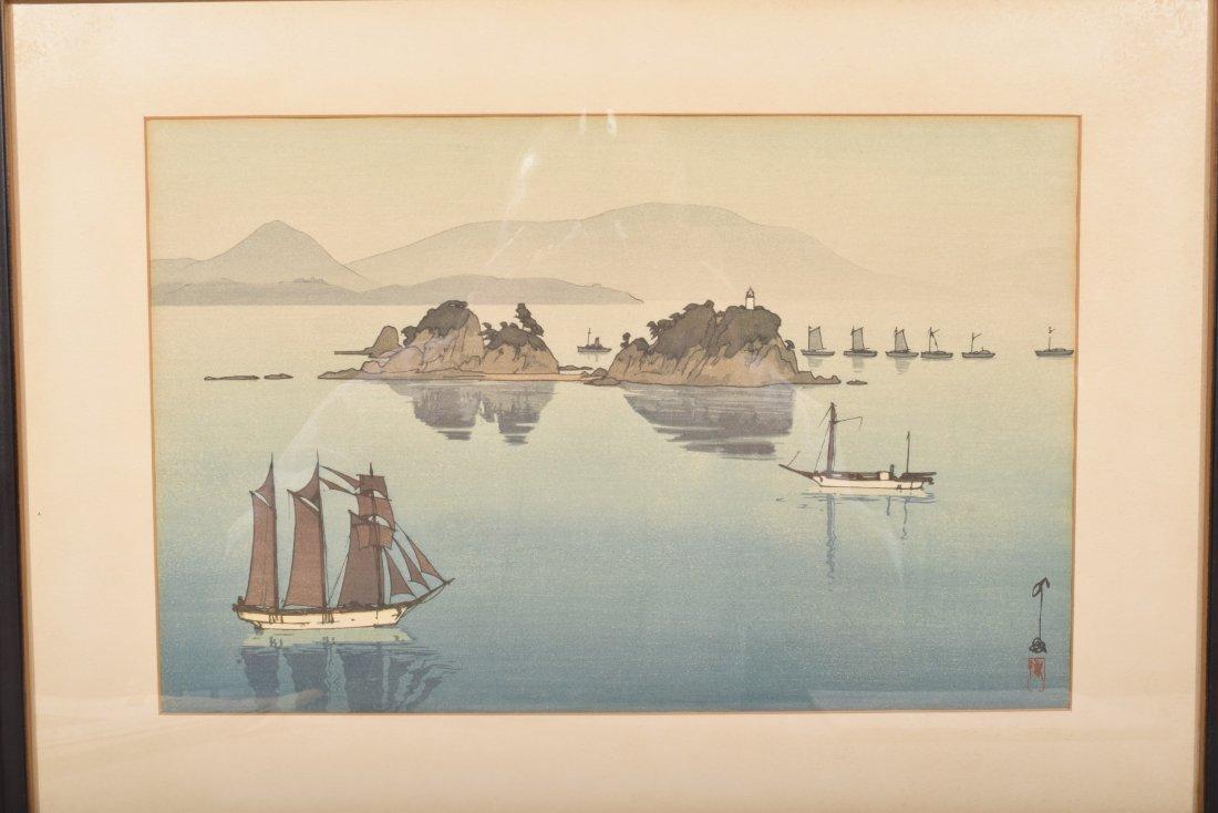 Hiroshi Yoshida. Woodblock Print. Boats in a Bay. - 2