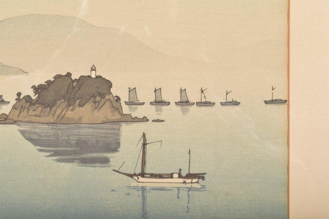 Hiroshi Yoshida. Woodblock Print. Boats in a Bay. - 3