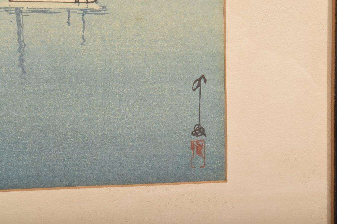 Hiroshi Yoshida. Woodblock Print. Boats in a Bay. - 4