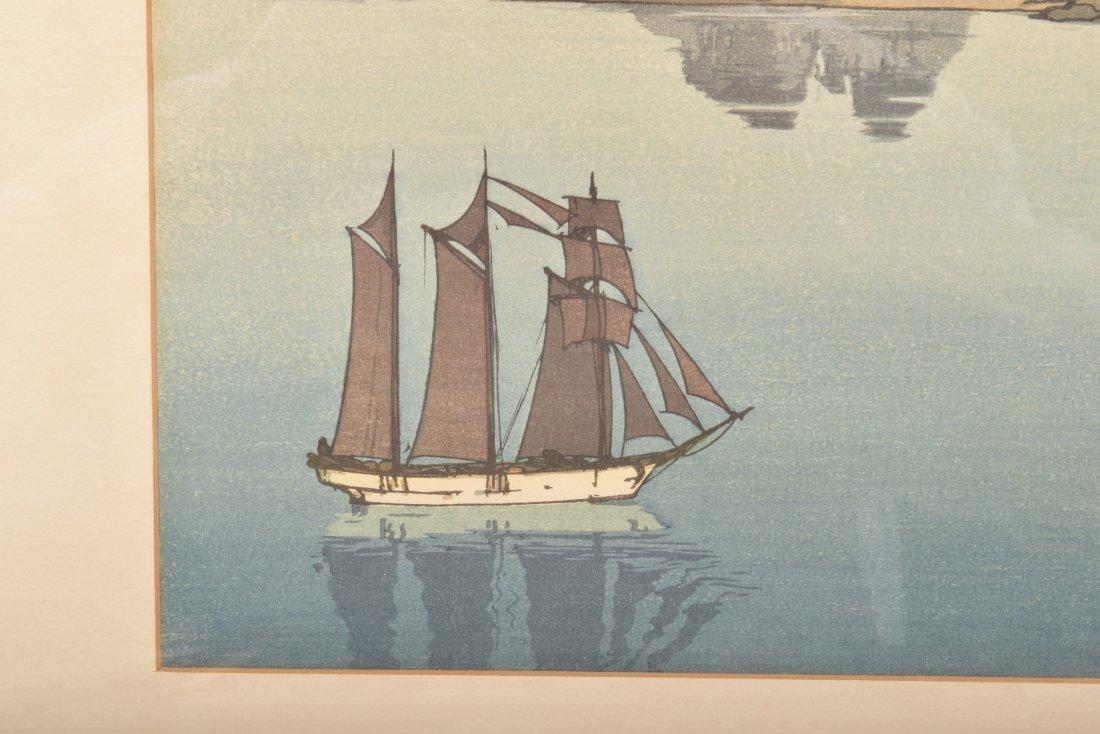 Hiroshi Yoshida. Woodblock Print. Boats in a Bay. - 5