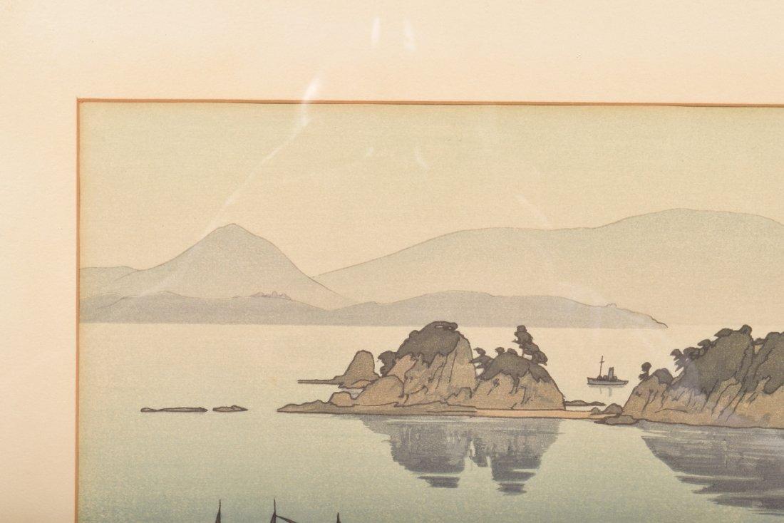 Hiroshi Yoshida. Woodblock Print. Boats in a Bay. - 6
