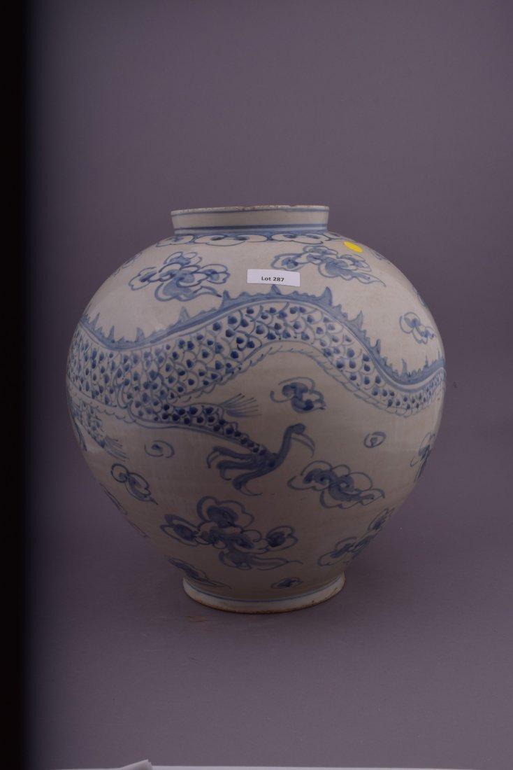 Large ovoid jar. Korean style. 20th century. Decoration - 3