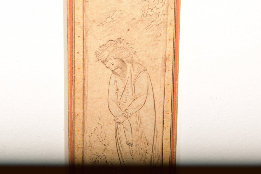 Persian miniature painting. 17th century. Drawing of a - 6