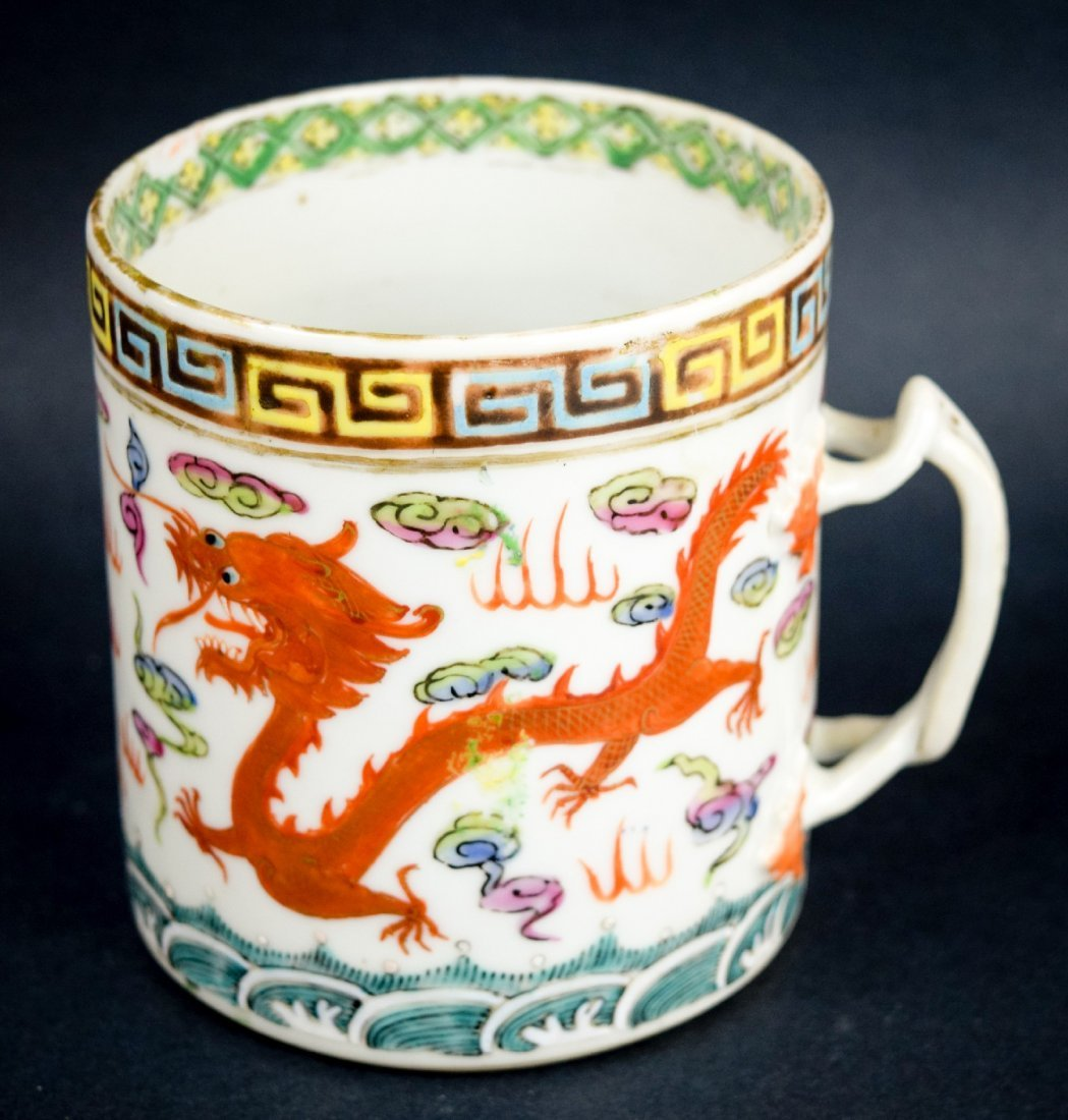 Chinese Export porcelain handle mug. 19th century.