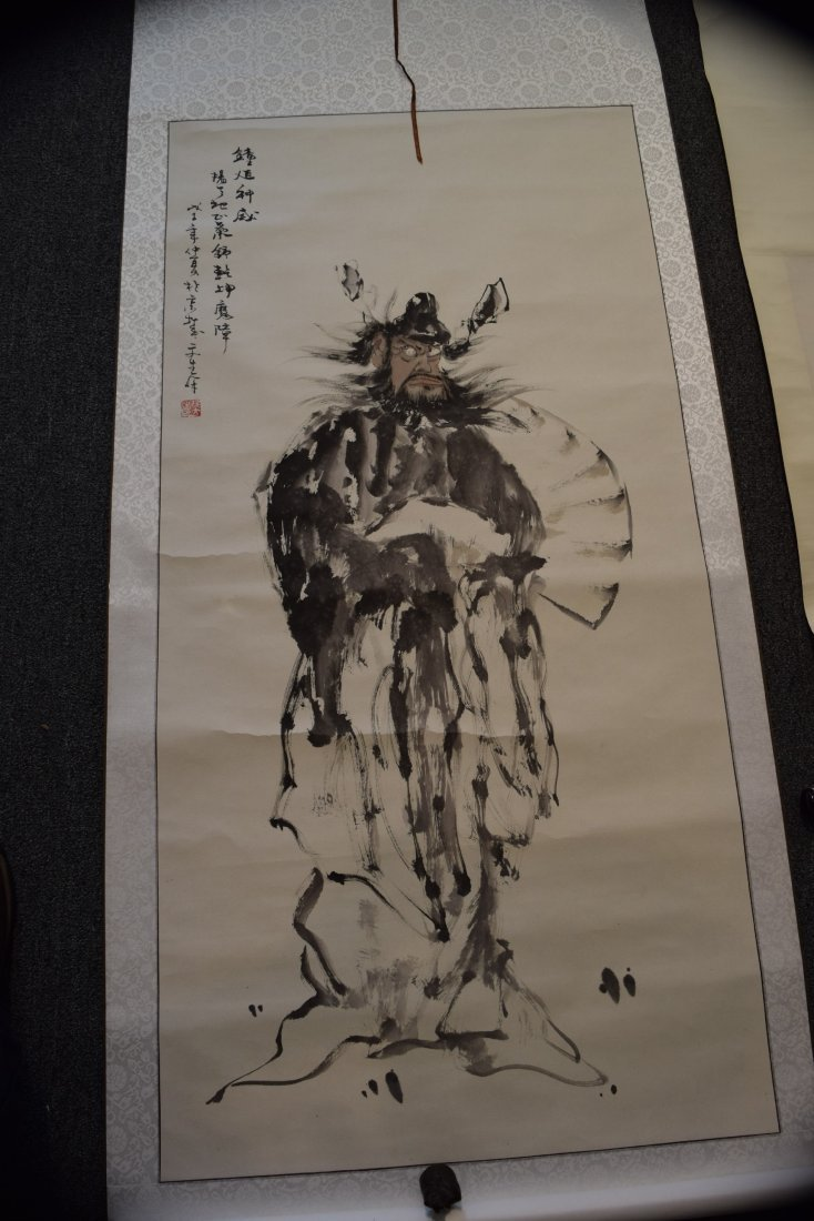 Lot of three scroll paintings. Ink and slight colours - 2