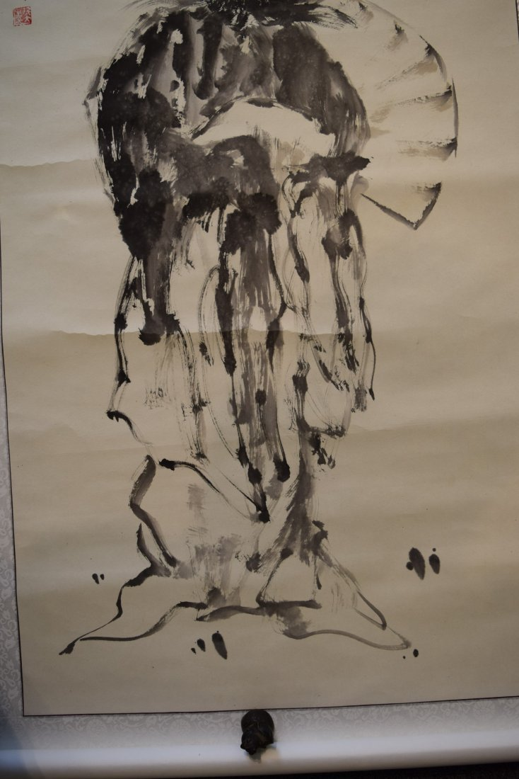 Lot of three scroll paintings. Ink and slight colours - 6