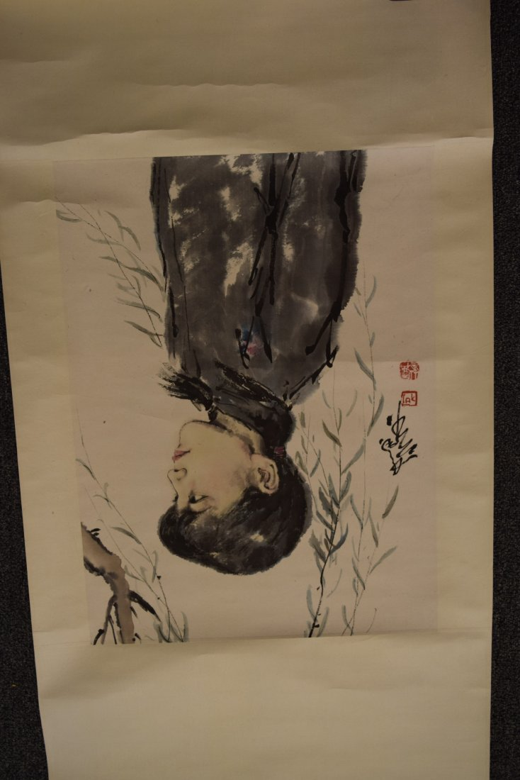Lot of three scroll paintings. Ink and slight colours - 9