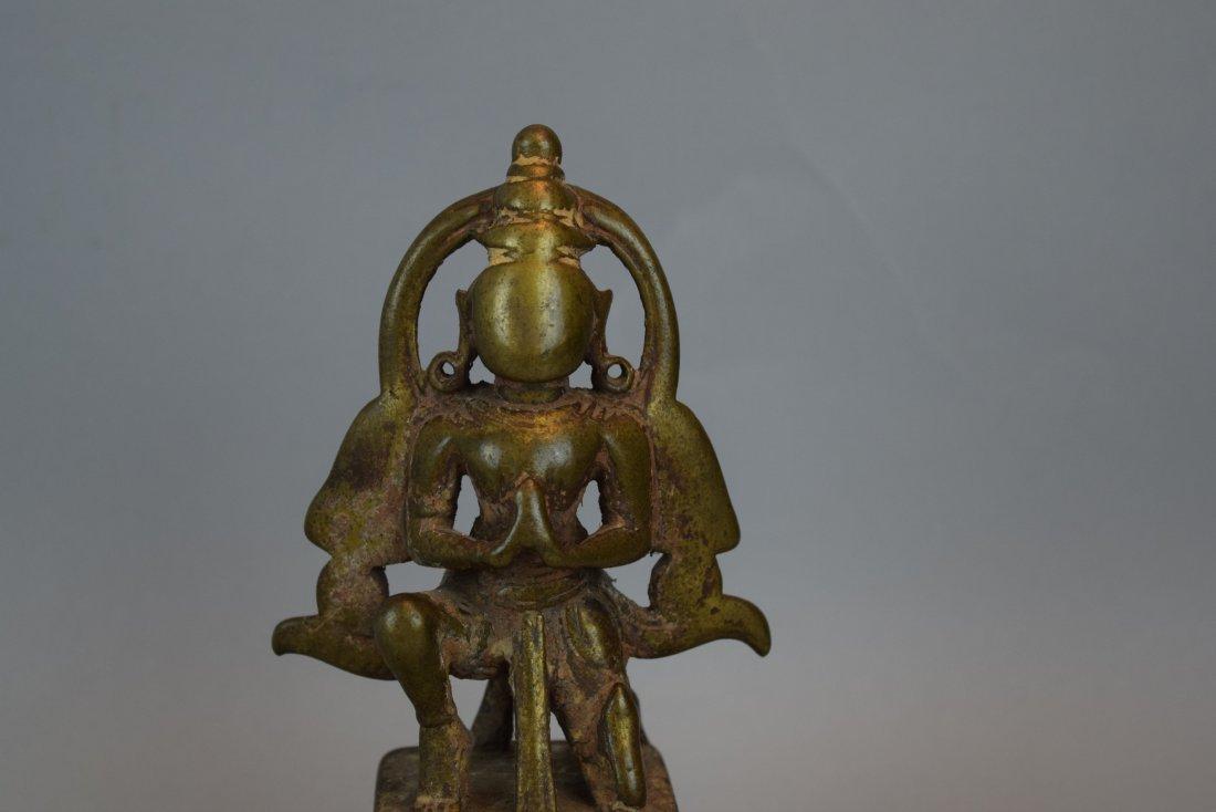 Bronze hindu Divinity. India. 18th century. Kneeling - 2