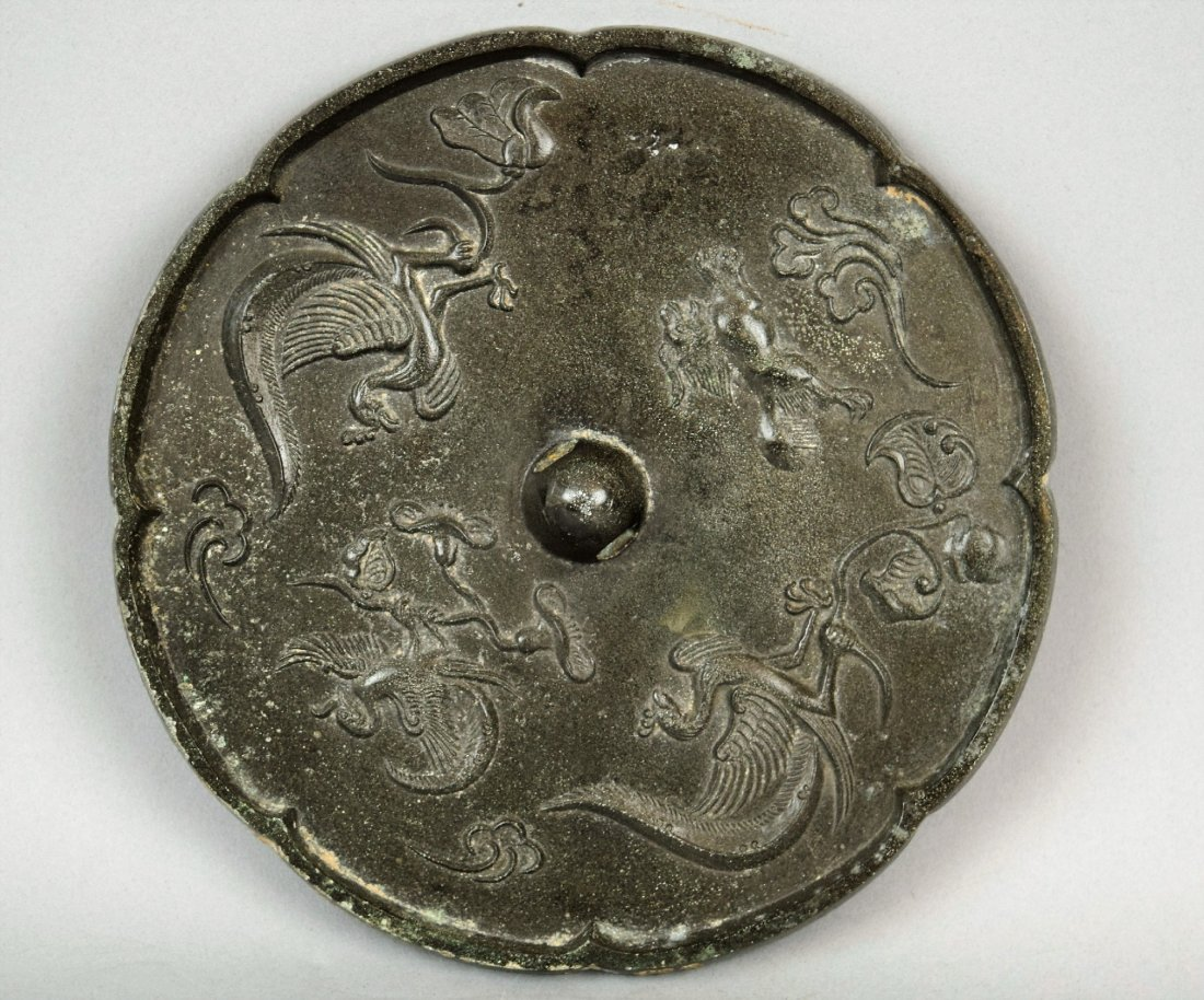 Bronze mirror. China. Tang period (618-920) Decoration