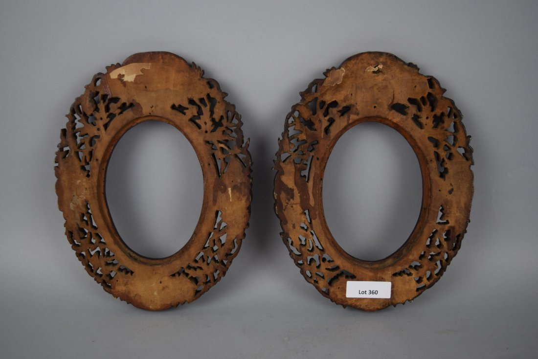 Pair of oval picture frames, Chinese Export. 19th - 2