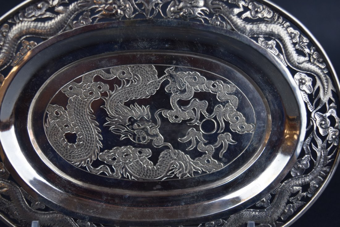 Chinese Export silver footed tray. 19th century. Oval - 2
