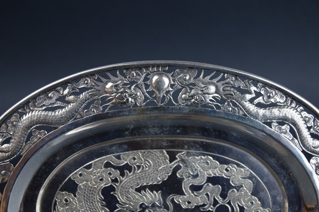 Chinese Export silver footed tray. 19th century. Oval - 3