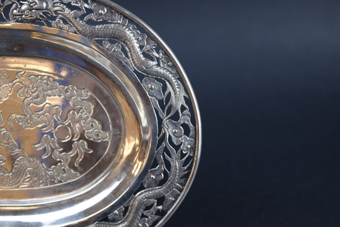 Chinese Export silver footed tray. 19th century. Oval - 4