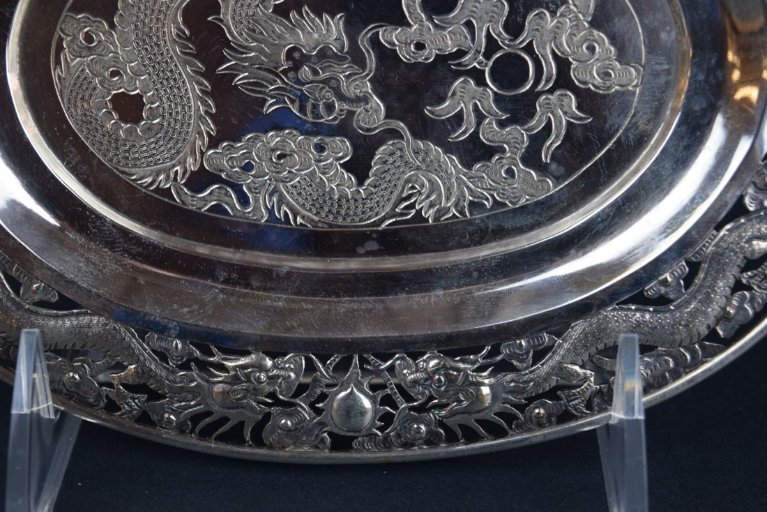 Chinese Export silver footed tray. 19th century. Oval - 5