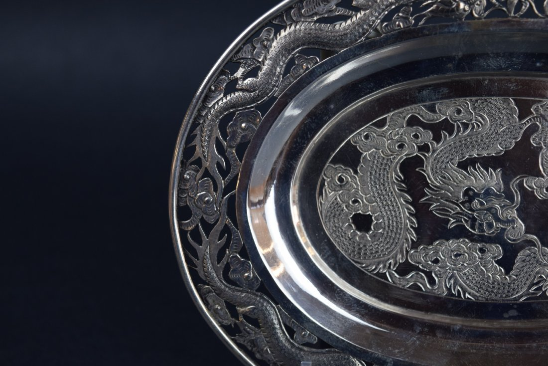Chinese Export silver footed tray. 19th century. Oval - 6
