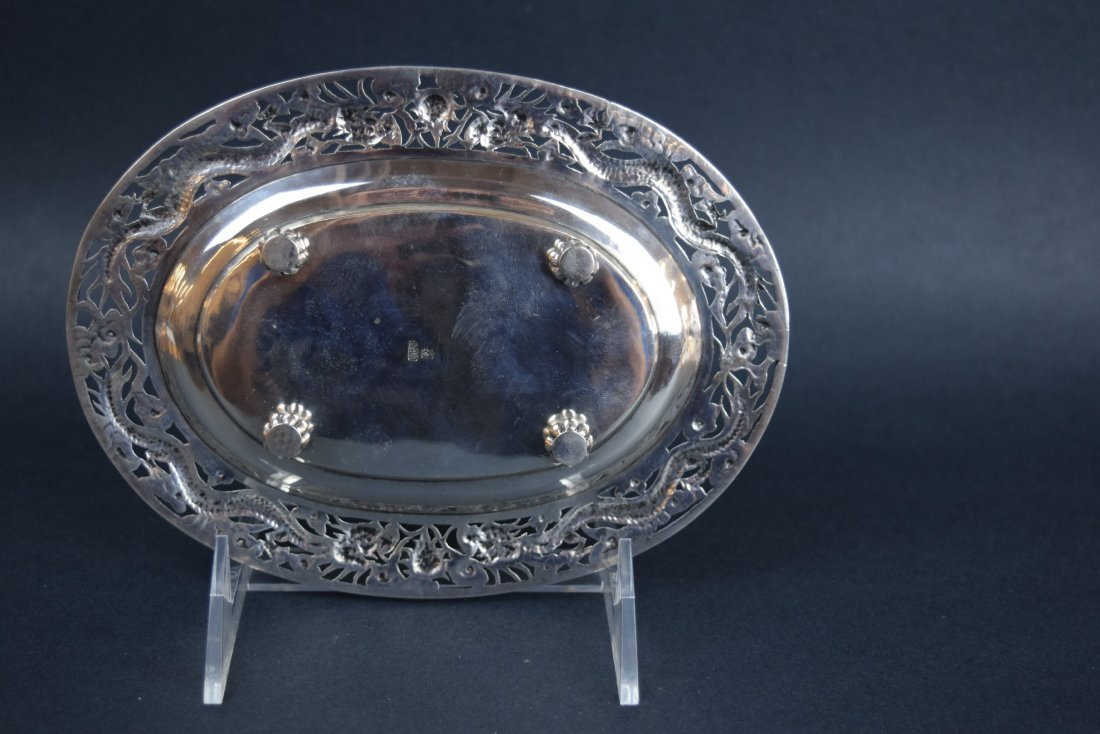 Chinese Export silver footed tray. 19th century. Oval - 7