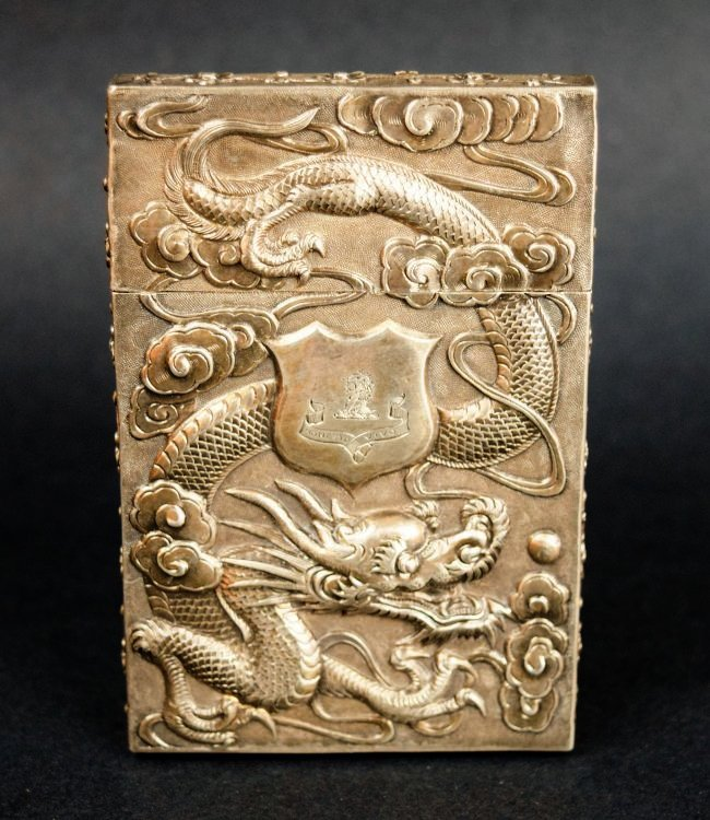 Chinese Export silver Carde de Visite case. 19th