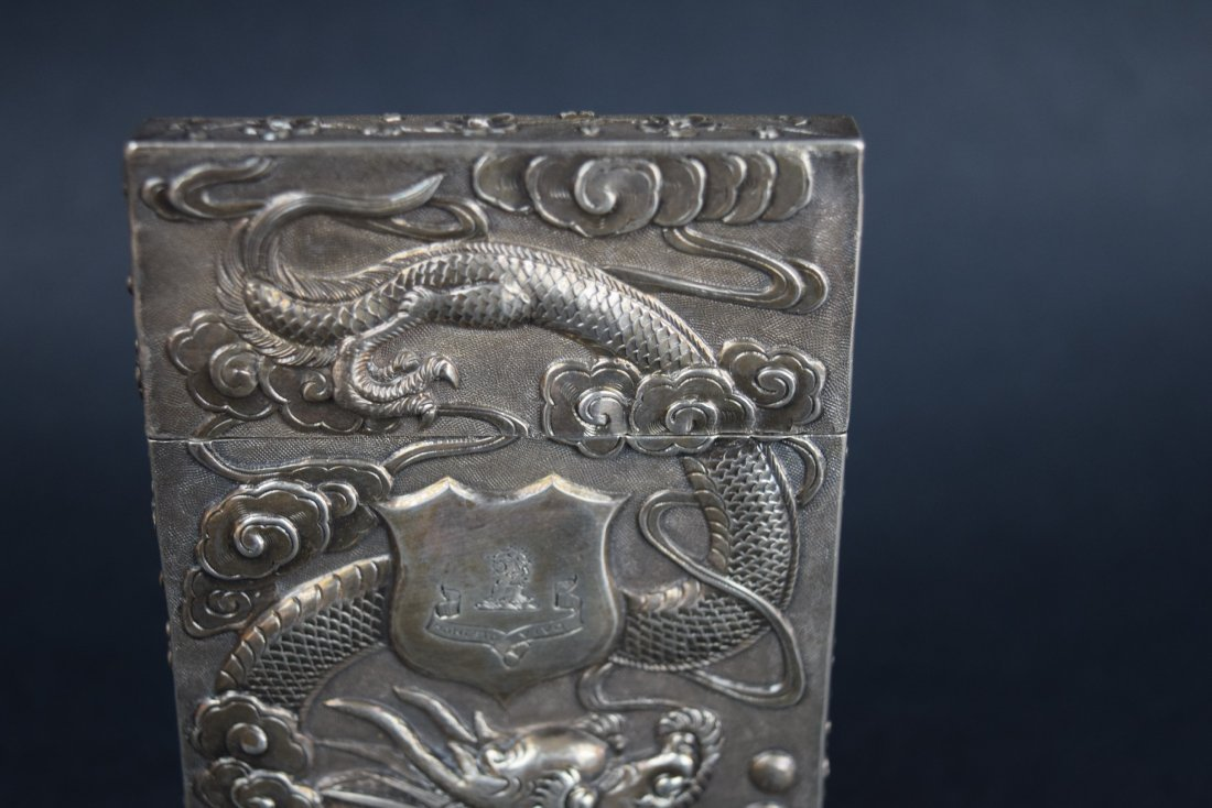 Chinese Export silver Carde de Visite case. 19th - 2