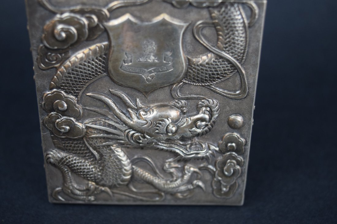 Chinese Export silver Carde de Visite case. 19th - 3