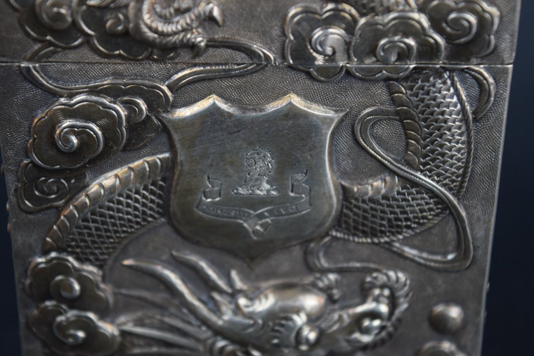 Chinese Export silver Carde de Visite case. 19th - 4