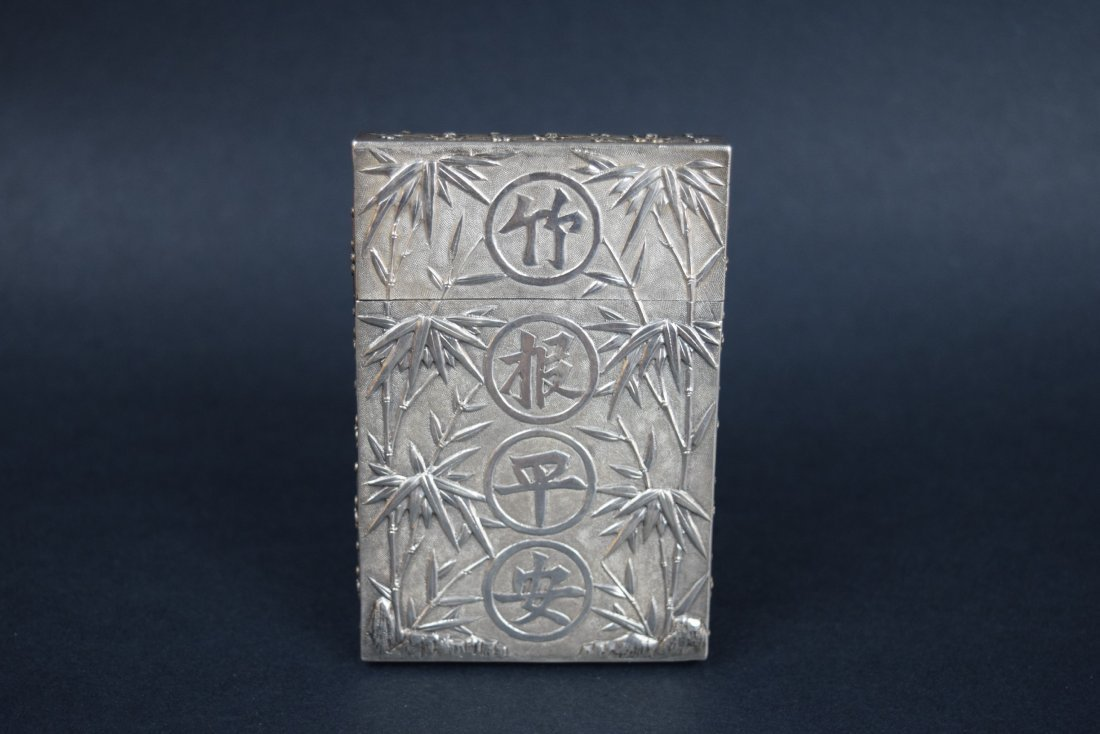 Chinese Export silver Carde de Visite case. 19th - 5