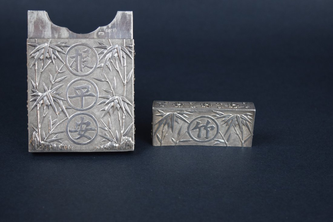 Chinese Export silver Carde de Visite case. 19th - 8