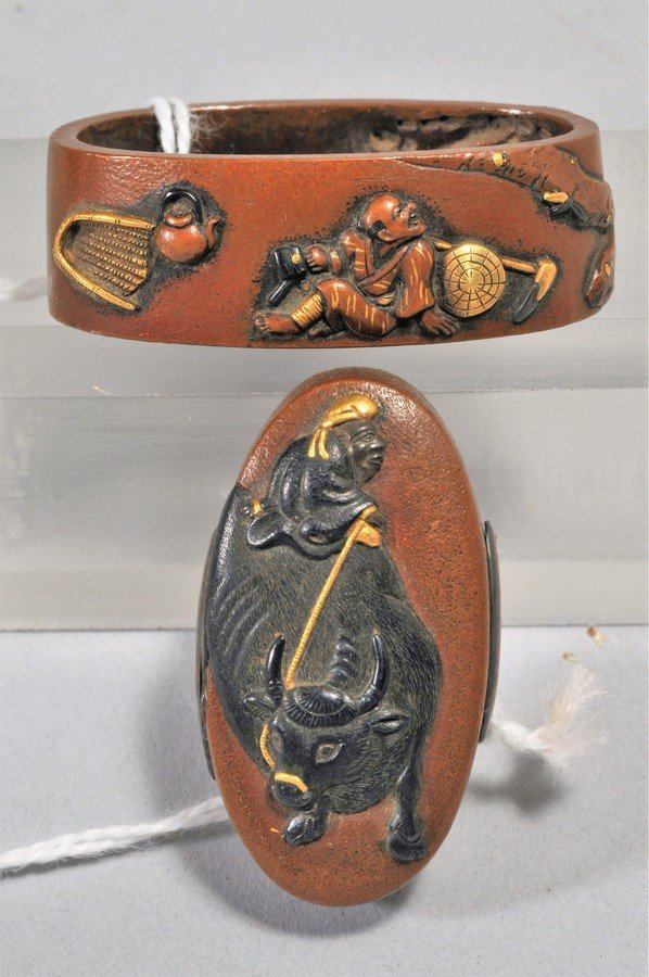 Set Fuchi-Kashira, Japan. 18th/19th century. Copper