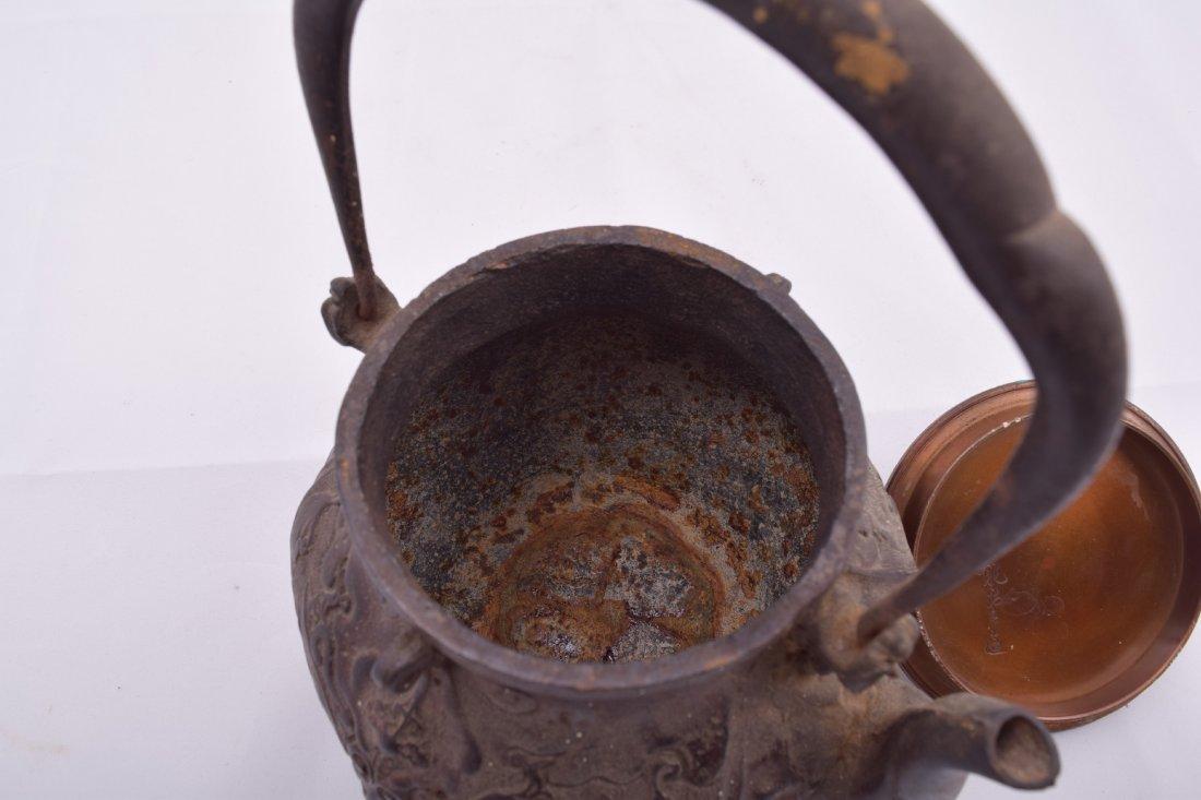 Two cast iron Meiji 19th century Japanese teapots. - 10