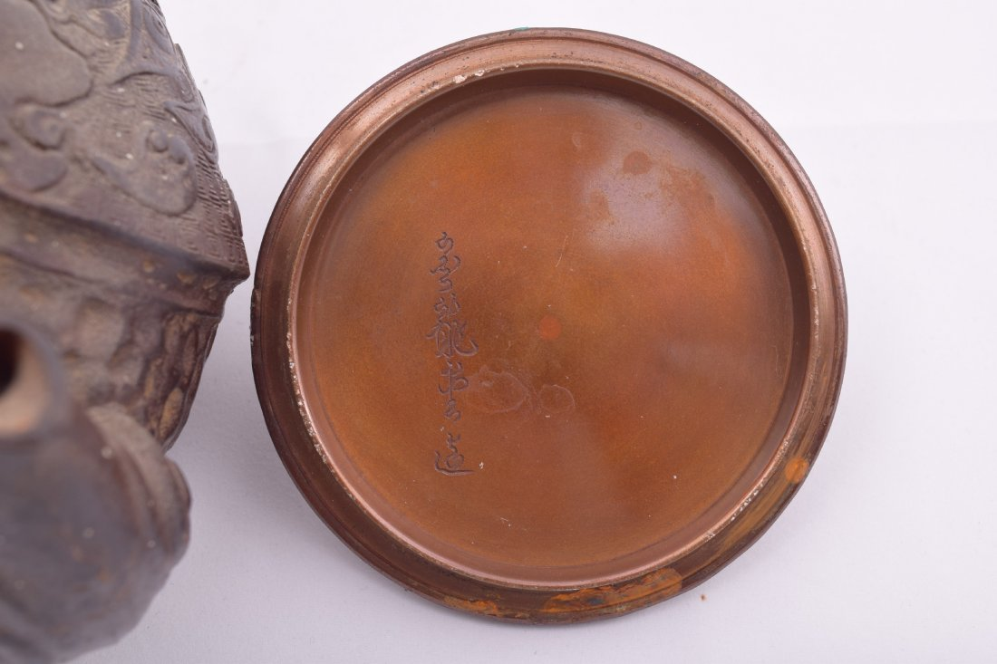 Two cast iron Meiji 19th century Japanese teapots. - 4