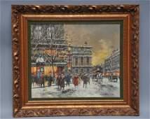 Antoine Blanchard Paris Street scene painting Paris