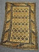 Antique Caucasian Oriental Scatter rug Blue and Tan