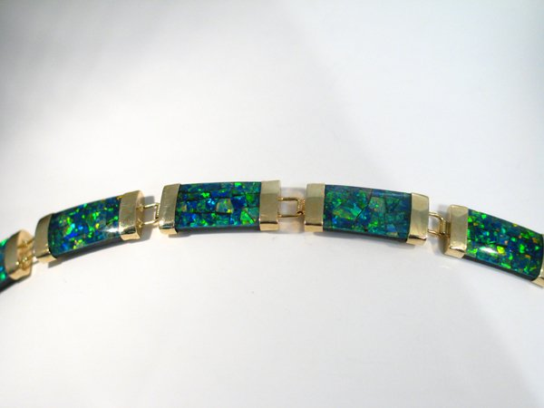 9: 10K SD YG   OPAL BRACELET [7.5in]
