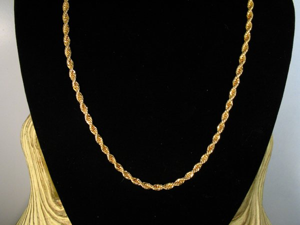 17: 24K PL YG   PLTD GOLD ROPE NECKLACE [20in]