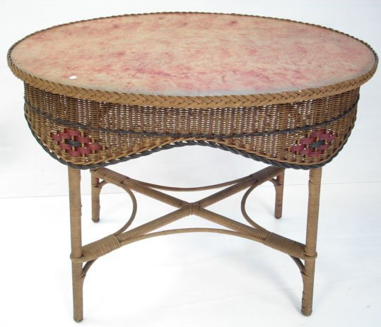 604: ANTIQUE PAINTED WICKER CENTER TABLE