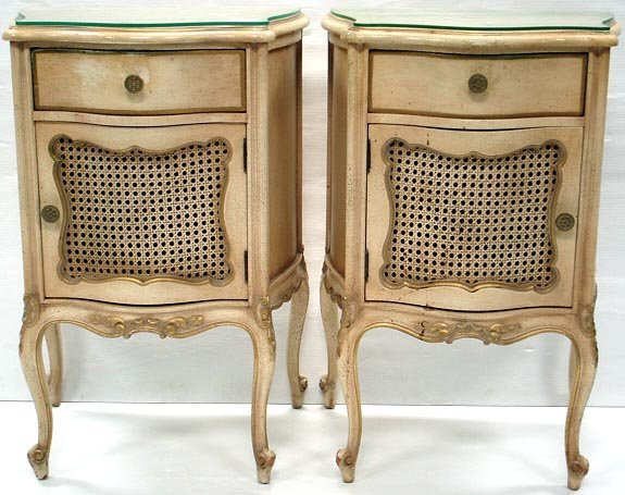 607: PAIR PAINTED FRENCH NIGHTSTANDS SERPENTINE SIDES