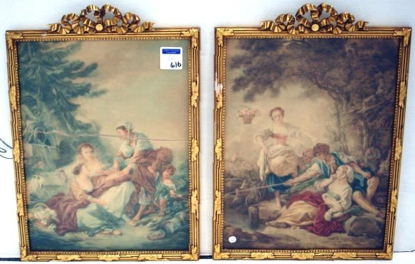 616: PAIR CLASSICAL FRENCH PRINTS ON LINEN